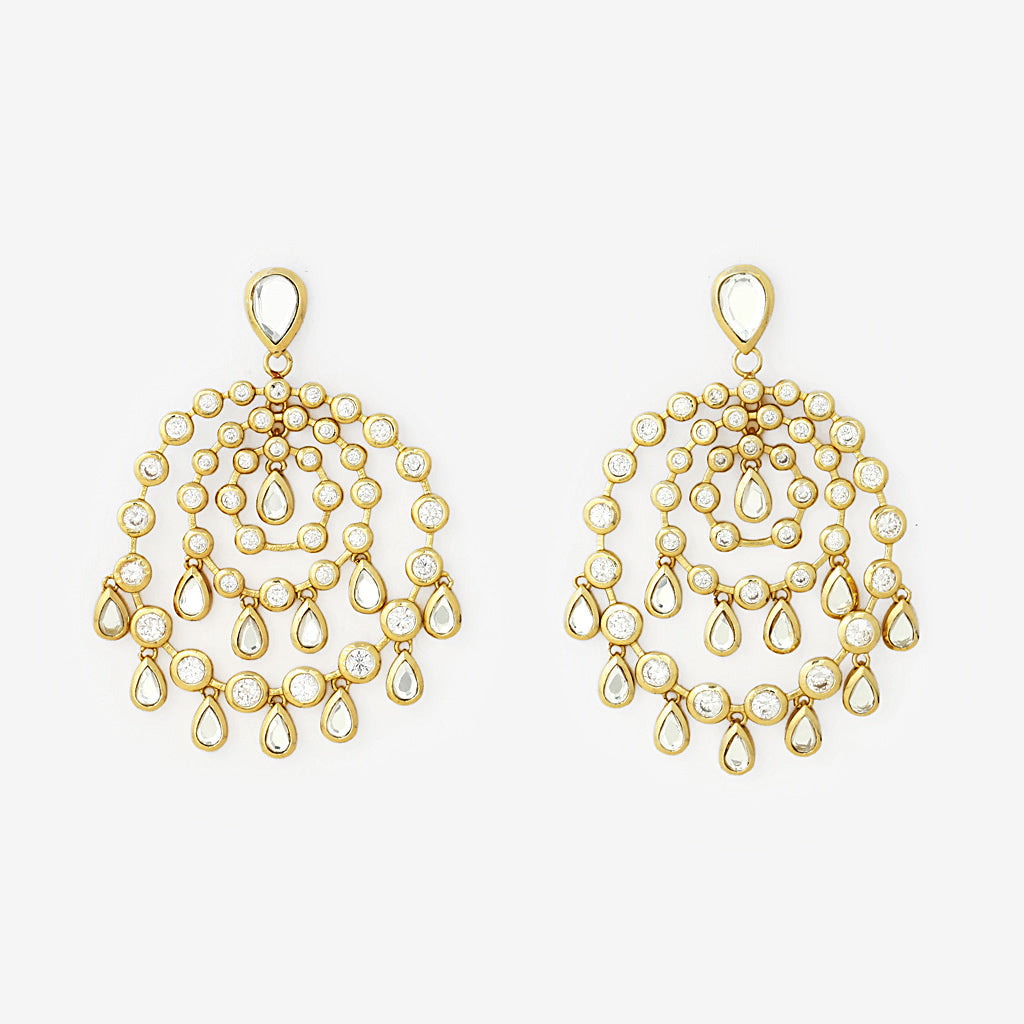 Pyramid mirror allure earrings gold