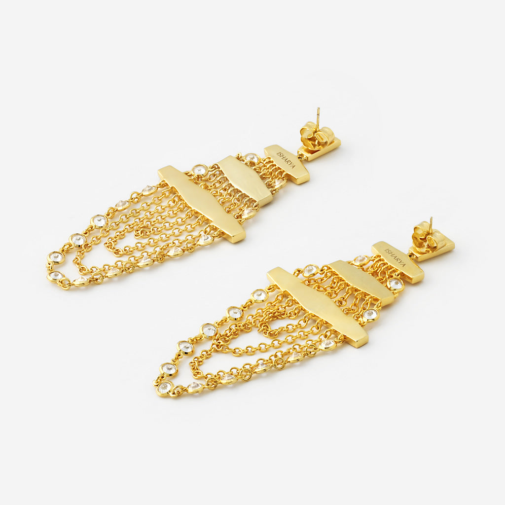 Pyramid Mirror Chandelier Earrings