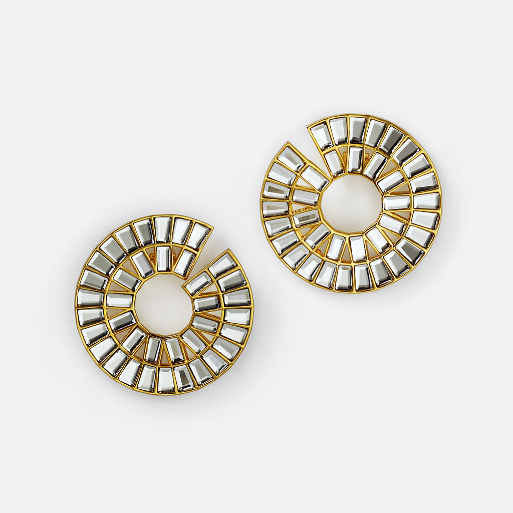 Prism mirror statement hoop earring