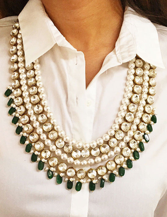 Pearl and Green Princess Necklace