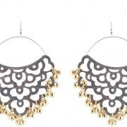 Gold ghungroo and silver metal cut out earrings