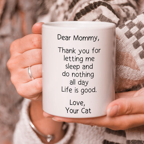Image of Letting Me Sleep - Personalized  Cat Mug - MisoPunny