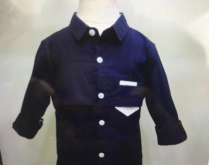 Boys Pocket-square LS shirt