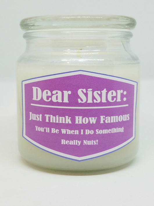 Dear Sister: Just Think How Famous You'll Be When I Do Something Really Nuts!