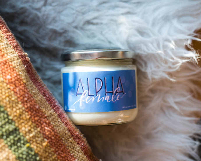 Alpha Female sassy vegan and soy candle that gives back