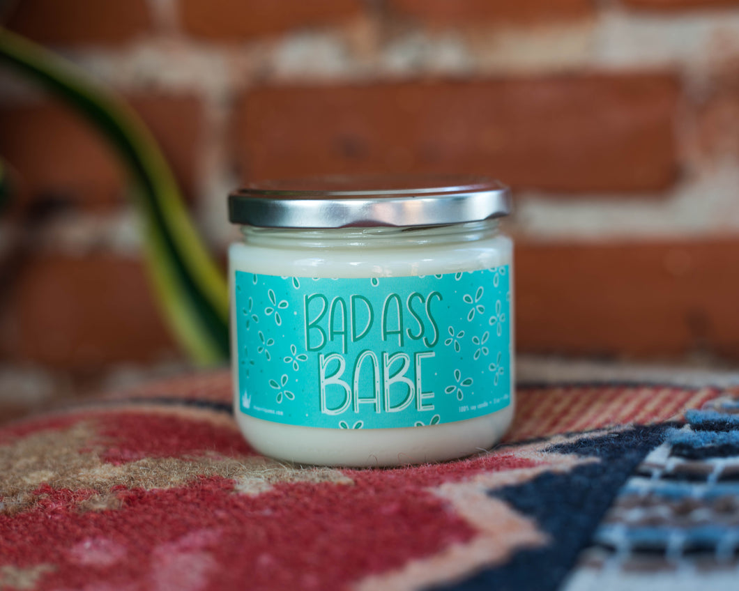 Badass Babe female empowerment vegan soy candle