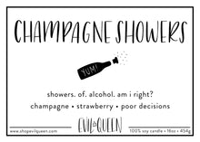 Sassy vegan soy wax candle Champagne Showers label