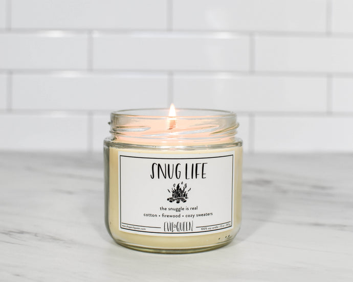 Snug Life cotton and firewood scented vegan soy candle
