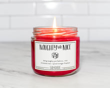 Naughty or Nice Christmas holiday theme sassy vegan soy candle