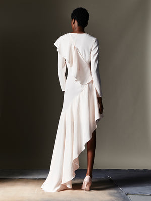 Asymmetrical Gown With Sleeves