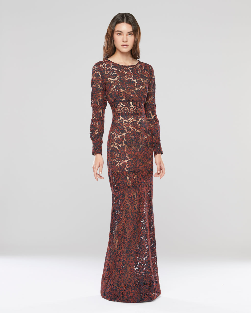 Embroidered Flare Sleeve Gown