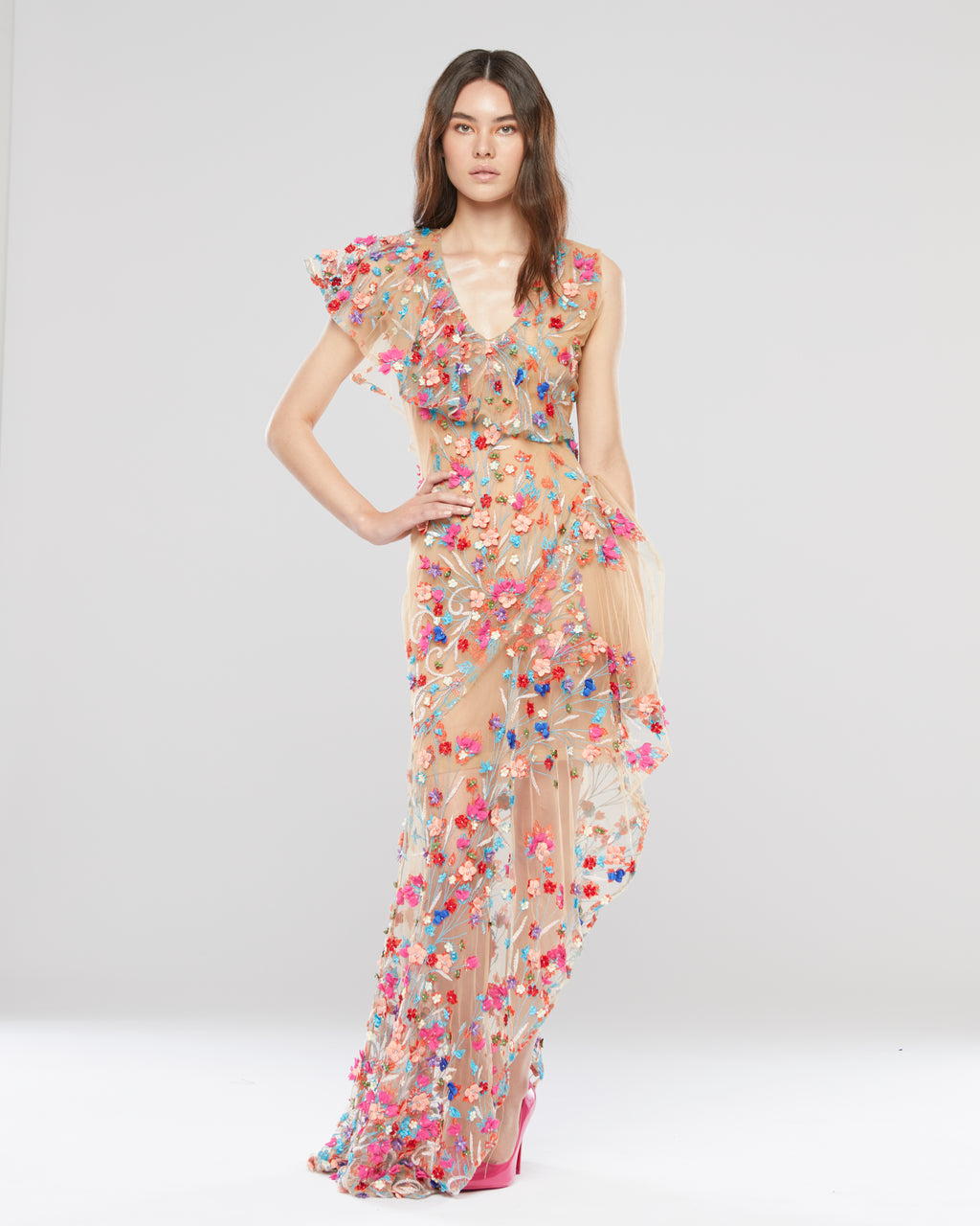 Floral Asymmetrical Gown
