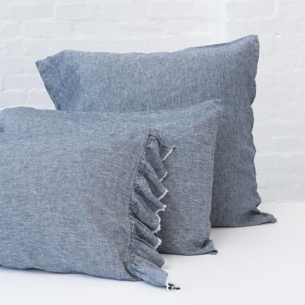 Ruffle Pillowcase Set (2) Denim - Society of Wanderers