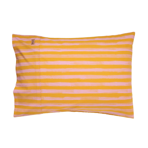 Stripey Strokes Mustard Single Pillowcase