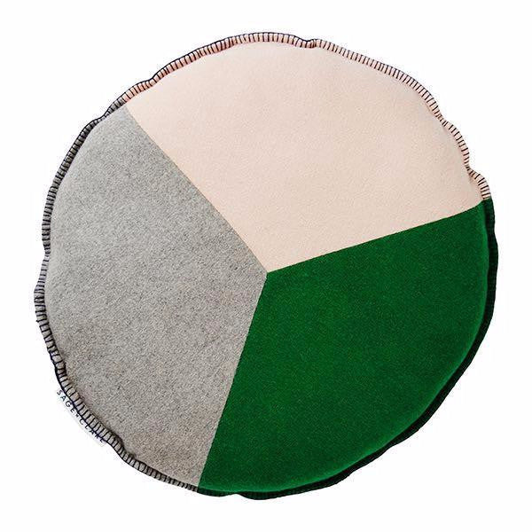Rudy Patchwork Felt Cushion - Emerald