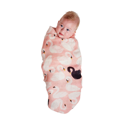 Swanette Pink & Lilypad Pond Bamboo Swaddle Set