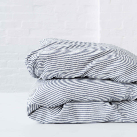 Blue Stripe Duvet Cover -100% French flax Society of Wanderers