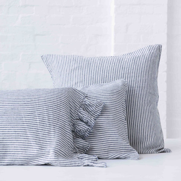 Ruffle Pillowcase Set (2) Blue Stripe - Society of Wanderers