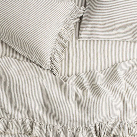 Olive Stripe Ruffle Flat Sheet -100% French flax Society of Wanderers