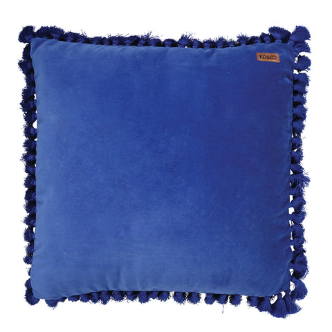 Electric Blue Velvet Tassel Cushion Cover