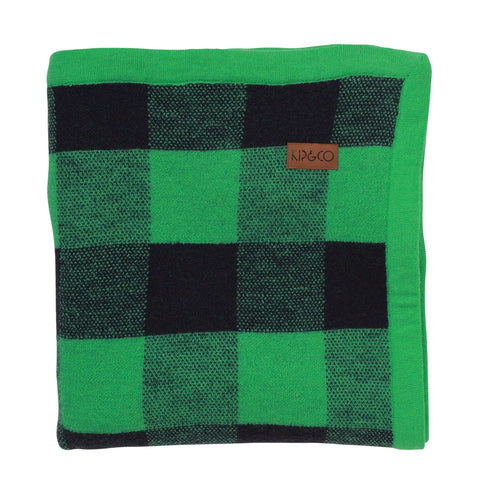Apple Green Tartan Wool Baby Blanket