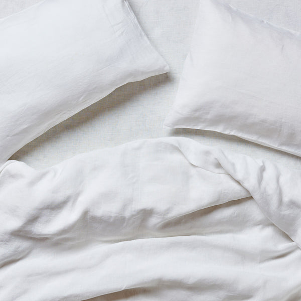 Bright White Linen Flat Sheet