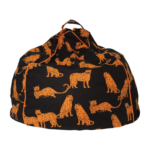 Cheetah Black Canvas Beanbag