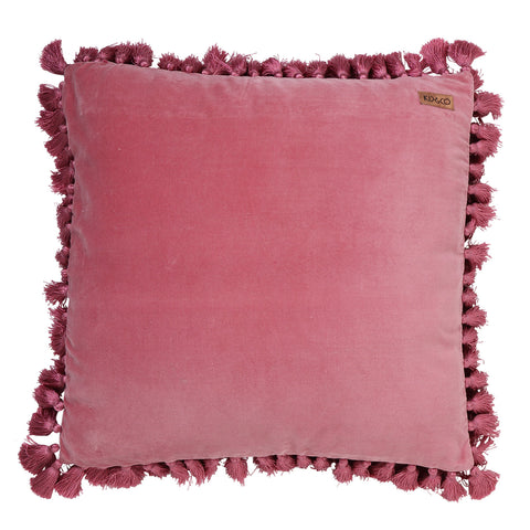 Dark Rose Velvet Tassel Cushion Cover