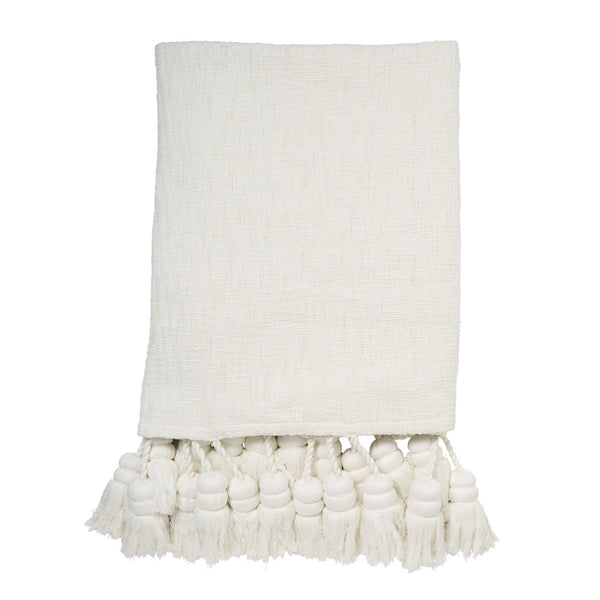 White Tassel Bed Throw/Blanket