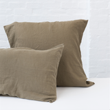 Olive Pillowcase Set (2) - 100% French flax Society of Wanderers