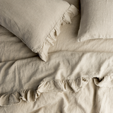 Natural Ruffle Flat Sheet -100% French flax Society of Wanderers