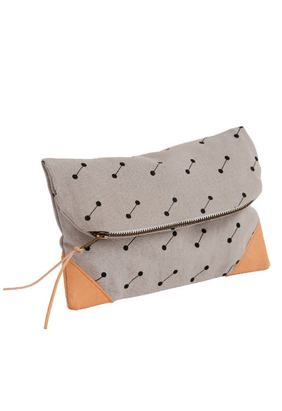 Grey ladies clutch with leather detail by OYOY