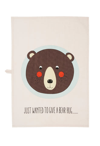 OYOY Bear Printed Artwork - Tea towel