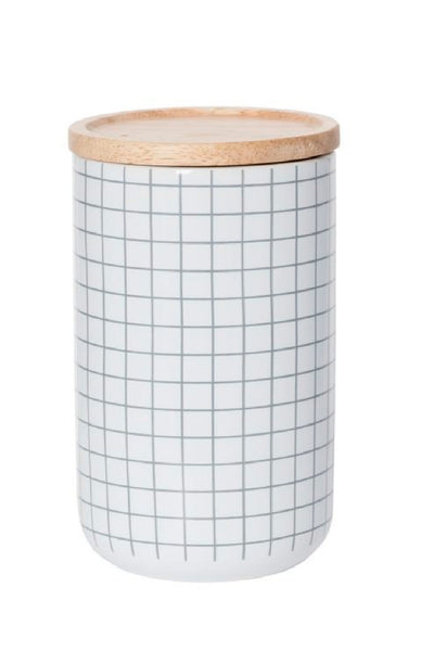 Tall Canister Grey Grid by General Eclectic