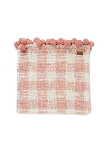 Waffle Pom Pom Cotton Throw