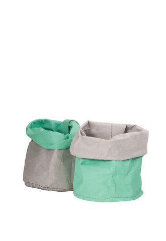 Wash Paper Bag Small Mint & Grey