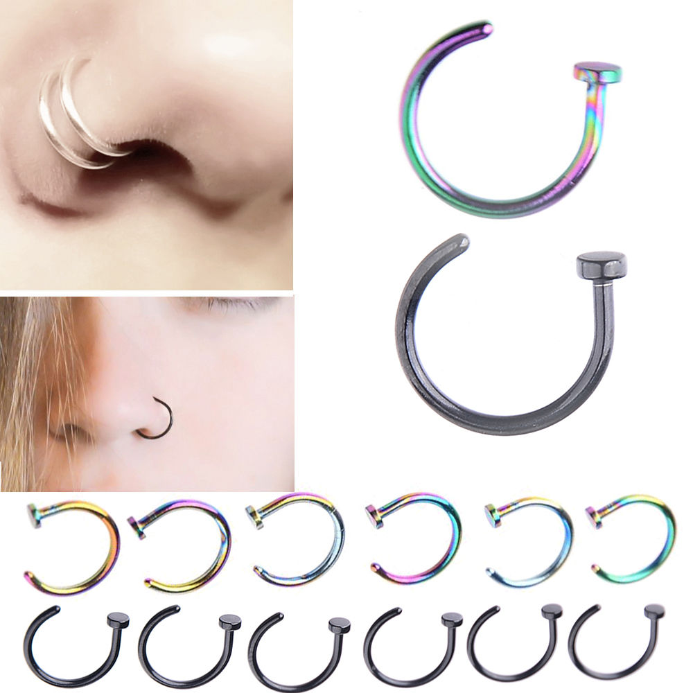 2Pcs Tiny Surgical Steel Open Nose Hoop Stud Ring Tragus Piercing