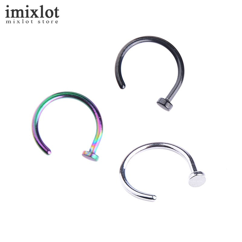 10Pcs Nostril Stainless Nose Hoop Nose Rings Clip On Nose Ring Body