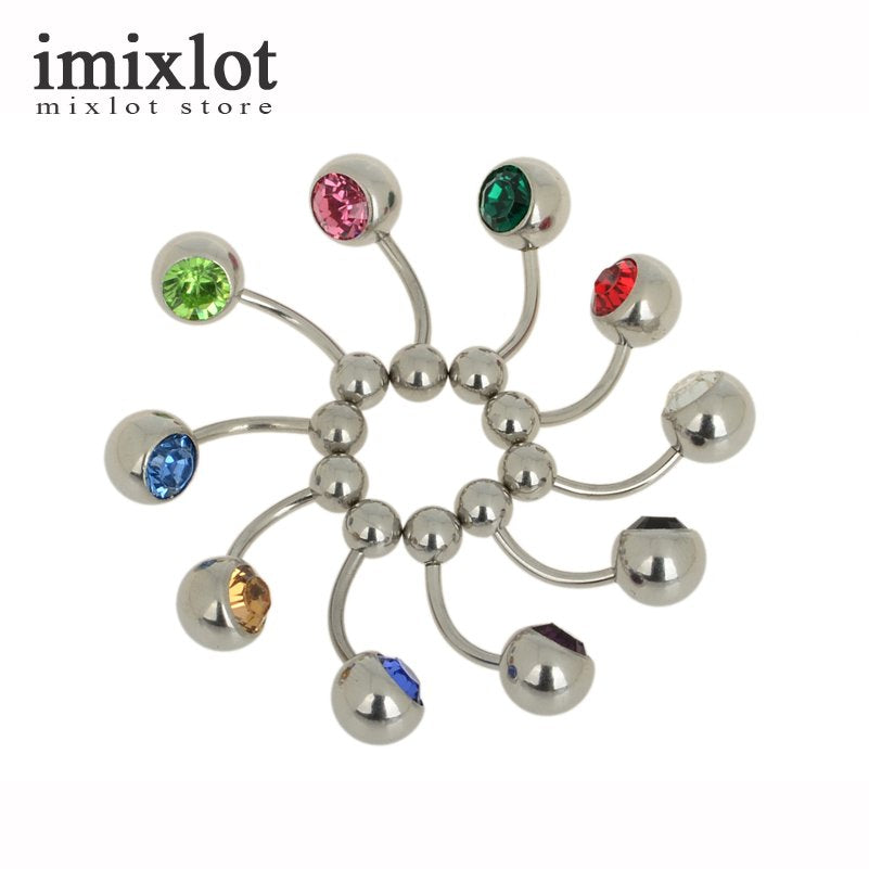 1 Piece Body Piercing Jewelry Silver Plated Bar Ball Barbell Belly