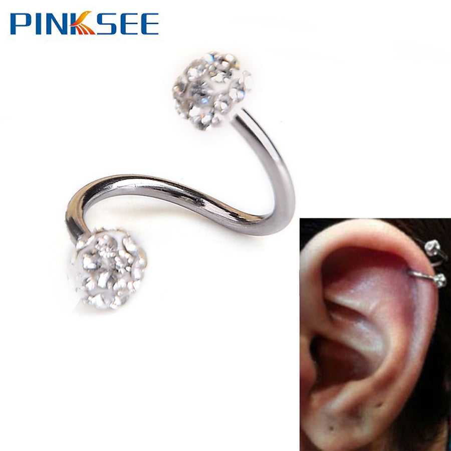 1 PC Gauge 18G S Ear Labret Ring Surgical Stainless Steel Crystal
