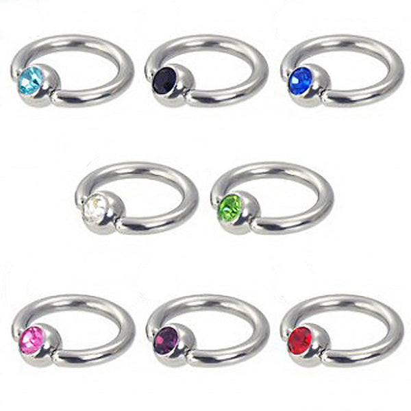 2PCS Stainless Steel Lip Nose Nipple Rings Crystal Ear Tragus Studs