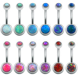 1 Pc Opal Stone Belly Button Rings Sexy Woman Belly Piercing Barbell