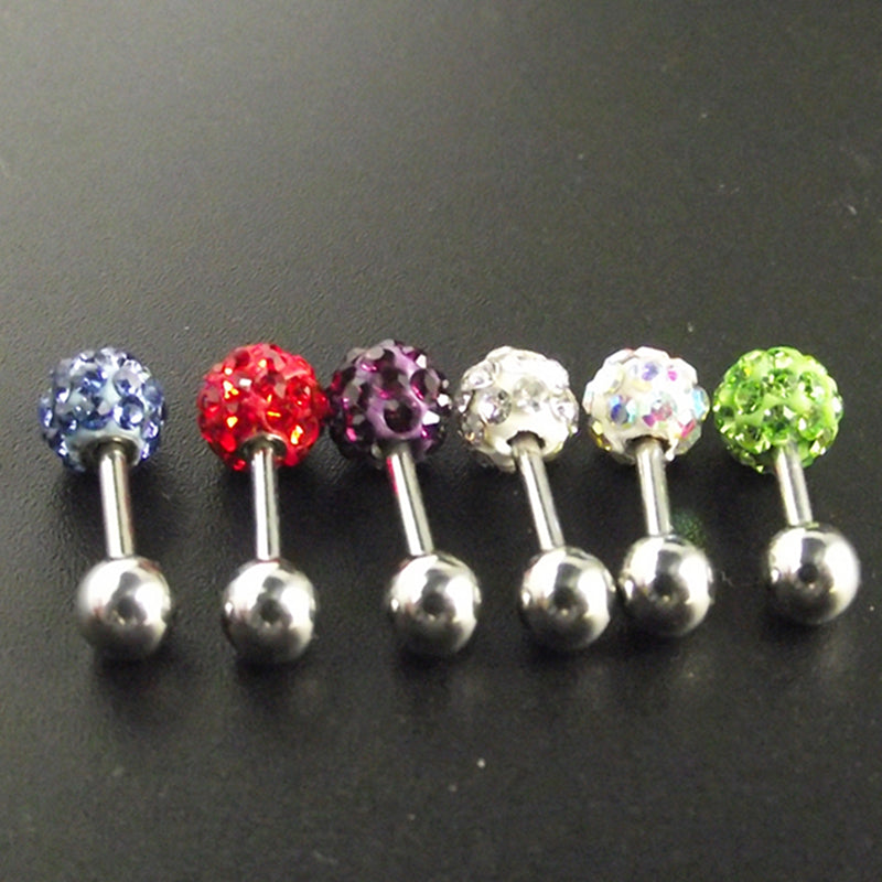 1 Piece Tragus Ear Piercing Labret Crystal Ball Stainless Steel Ear