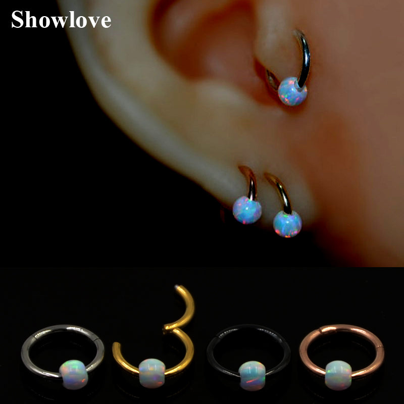 1pc 16g Titanium&Opal Stone Hinged Segment Ring Septum Nose Clicker
