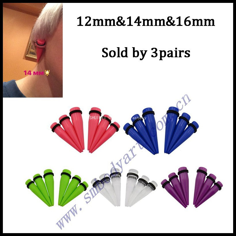 3  Pairs  6 pieces Same Color Large Size Acrylic Ear Taper  Stretching