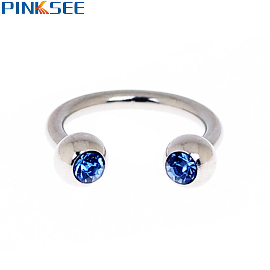 18G Stainless Steel Crystal Circular Barbells Horseshoe Nose Lip