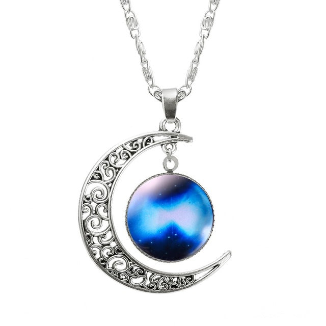 1 Pcs Hollow Moon & Glass Galaxy Statement Necklaces Silver Chain