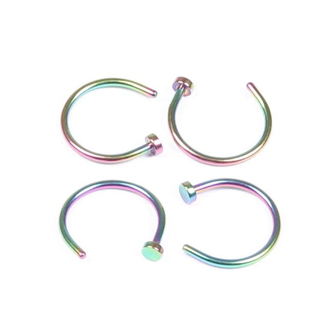 1PC 18G 20G 100% G23 Titanium Nose Rings Nose Nostril Hoop C-Rings