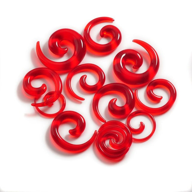 12Pcs Acrylic Ear Tapers Spiral Ear Stretching Piercing Body Jewelry