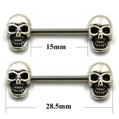 1 Pair 316L Surgical Steel Barbell Piercing Skull Anchor Wing Hand